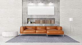 Modern sofa, mock up poster in contemporary living room, Royalty Free Stock Photo