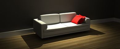Modern sofa with red pillows Royalty Free Stock Photo
