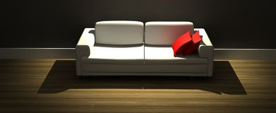 Modern sofa with red pillows Royalty Free Stock Photos