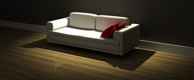 Modern sofa with red pillows Royalty Free Stock Image