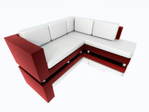 Modern sofa rendered. Modern sofa with reflection 3D rendered Royalty Free Stock Photo