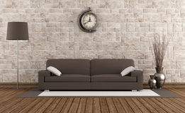 Modern sofa in a retro room Royalty Free Stock Image