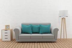 Modern sofa in the room loft design in 3D rendering Stock Image