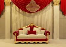 Modern sofa in royal interior. Modern sofa with curtains in royal interior Vector Illustration