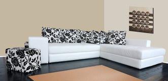 Modern sofa with skin tapestry. Modern bedroom with sofa and skin tapestry Stock Image