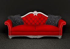Modern sofa with two  furry cushions in interior Stock Image