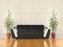 Modern soffa i vardagsrummet Royaltyfria Bilder