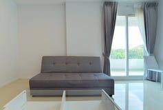 Modern soffa i vit vardagsrum med fönstret, inredesign arkivbild