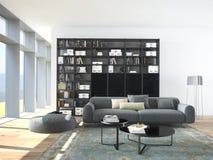Modern soffa- och träbokhylla i en vardagsrum arkivbilder