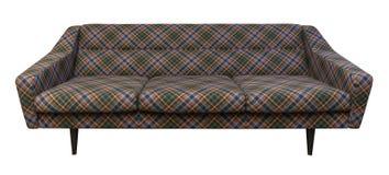Modern soffa, soffaplädtyg som isoleras på vit royaltyfri bild