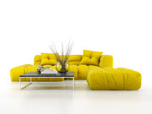 Modern soffa som isoleras på den vita tolkningen för bakgrund 3D Royaltyfri Fotografi