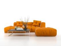 Modern soffa som isoleras på den vita tolkningen för bakgrund 3D Arkivfoton