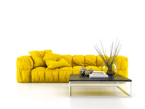 Modern soffa som isoleras på den vita tolkningen för bakgrund 3D Arkivbild