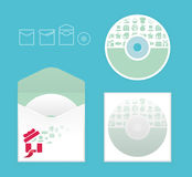 Modern soft color cd design with icon shopping Stock Image