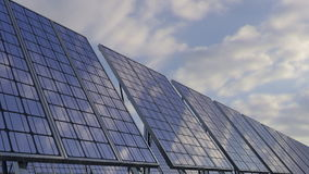 Modern solar panels reflecting cloudy sky. Renewable ecologic energy generation, 4K loop able clip stock video