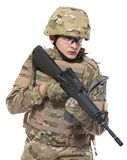 Modern soldier with rifle. Isolated on a white background Stock Photography