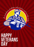 Modern Soldier Veterans Day Greeting Card Side. Greeting card poster showing illustration of an American soldier serviceman with assault rifle looking to side Royalty Free Stock Photography