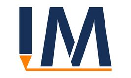 Modern solution Letter IM Pen. Logo Design Template Vector Royalty Free Stock Photo