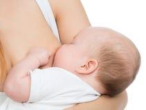 Modern som ammar det begynnande barnet, behandla som ett barn flickan med bröstet mjölkar Royaltyfri Bild