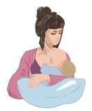 Modern som ammar spädbarnet, behandla som ett barn barnet som sovande invaggar honom på sjukvårdkudden som i vagga Arkivbild