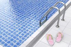 Modern sommar Flip Flops på simbassängen framförande 3d vektor illustrationer