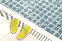 Modern sommar Flip Flops på simbassängen framförande 3d stock illustrationer