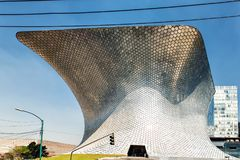The modern Soumaya museum of art in Mexico City. Mexico City, Mexico - February 15, 2018: Soumaya Museum`s has a modern building, and holds the largest Rodin Royalty Free Stock Image