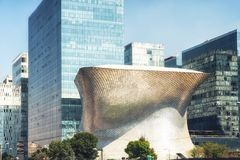 The modern Soumaya museum of art in Mexico City. Mexico City, Mexico - February 15, 2018: Soumaya Museum`s has a modern building, and holds the largest Rodin Stock Image