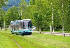Modern spårvagn i Grenoble Arkivbilder