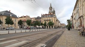Modern spårvagn i Nancy, Frankrike arkivfilmer