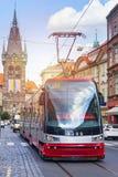Modern spårvagn i Prague Royaltyfria Bilder