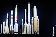 Modern space craft models development of space science royalty free stock images