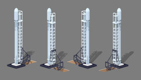 Modern space rocket on the launch pad Stock Photos