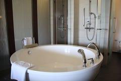 Modern and spacious bathroom stock image