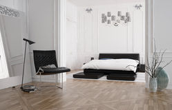 Modern spacious bedroom interior with recessed bed Stock Photography