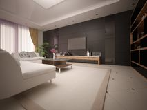 Modern spacious living room with light comfortable sofas. Stock Photos