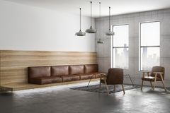 Brown leather sofa in loft room. Modern spacious loft style living room with brown leather furniture, big windows and city view. 3D rendering Stock Images