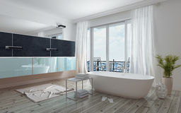 Modern spacious white bathroom interior Royalty Free Stock Image