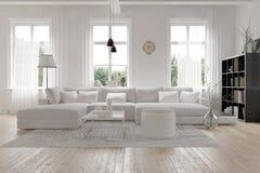 Modern spacious white lounge interior Royalty Free Stock Image