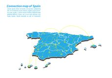 Modern of spain Map connections network design, Best Internet Concept of spain map business from concepts series. Map point and line composition. Infographic stock illustration
