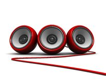 Modern speakers. 3d illustration of modern audio speakers over white background Stock Photo