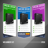 Modern Special Offer Web Banner Set Vector Colored: Blue, Violet, Green. Website Showing Product Box Royalty Free Stock Photos