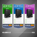 Modern Special Offer Web Banner Set Vector Colored: Green, Blue, Violet, Purple. Stock Photo