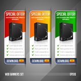Modern Special Offer Web Banner Set Vector Colored: Red, Yellow, Orange, Green. Website Showing Product Box Stock Photos
