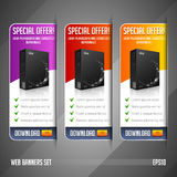 Modern Special Offer Web Banner Set Vector Colored: Red, Yellow, Orange, Violet, Purple.  Stock Images
