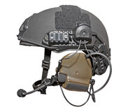Modern special troops helmet. With headphones and microphone isolated on white. Clipping path included Stock Photography