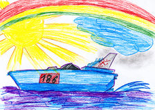 Modern speedboat. child drawing Royalty Free Stock Photo