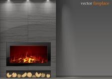 Modern spis med brand vektor illustrationer