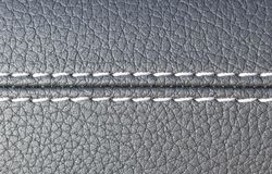 Modern sport car black leather interior. Part of leather car seat details Royalty Free Stock Photos