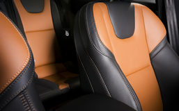 Modern sport car  red leather interior Royalty Free Stock Photos
